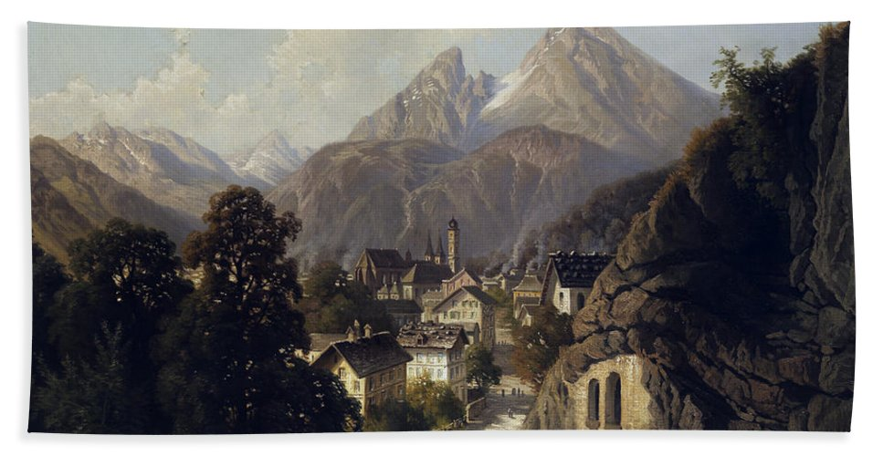 View Beach Towel featuring the painting View Of Berchtesgaden by Theodor Nocken