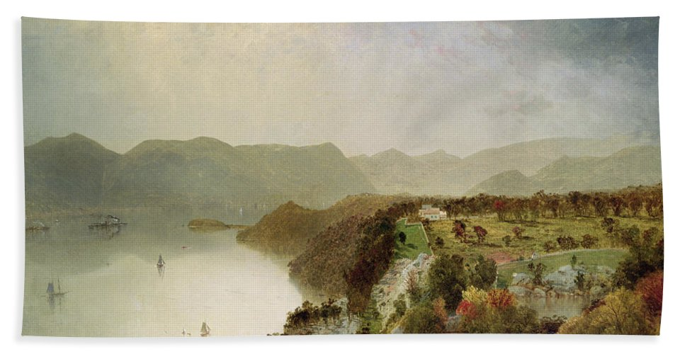 Cozzen Beach Towel featuring the painting View Of Cozzen's Hotel Near West Point Ny by John Frederick Kensett
