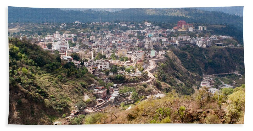 Katra Beach Towel featuring the photograph View Of Katra Township While On The Pilgrimage To The Vaishno Devi Shrine In Kashmir In India by Ashish Agarwal
