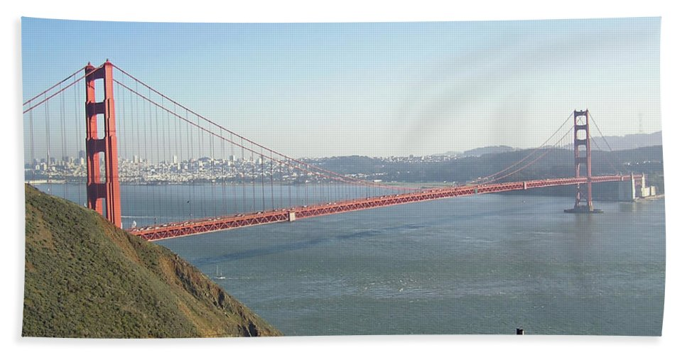 Golden Gate Beach Towel featuring the photograph View Of The Golden Gate Bridge And San Francisco From A Distance by Ashish Agarwal