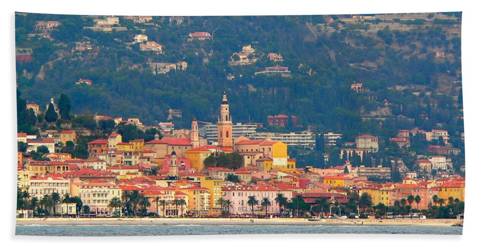 Villefranche Beach Towel featuring the photograph Villefranche by Eric Tressler