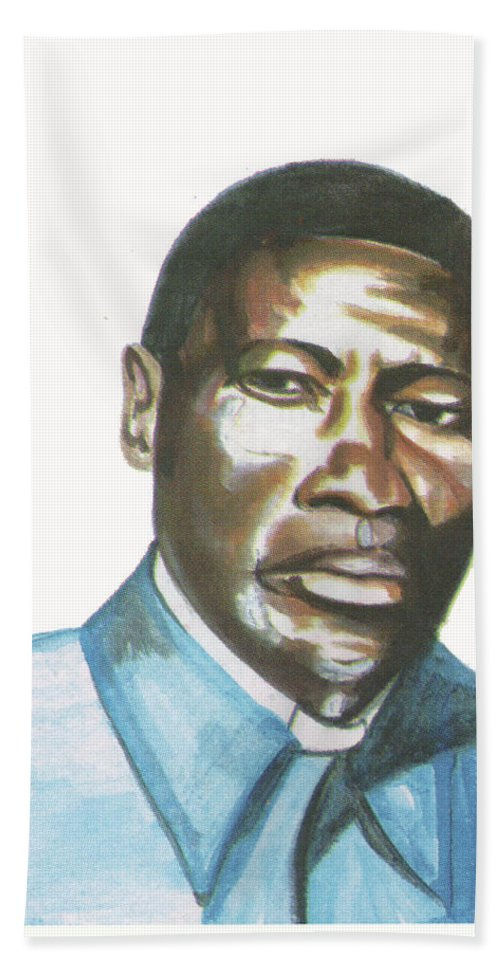 Portraits Beach Towel featuring the painting Vincent Mulago by Emmanuel Baliyanga