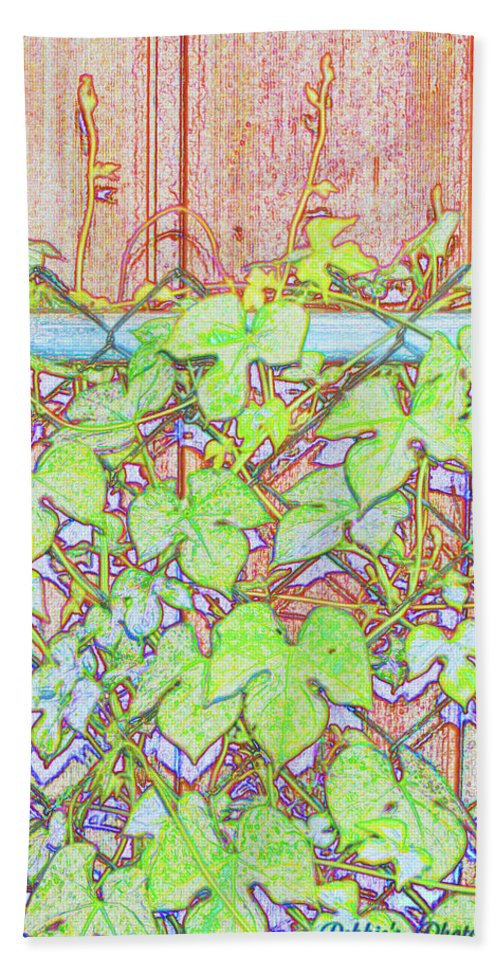 Botanical Beach Towel featuring the digital art Vines On A Fence by Debbie Portwood