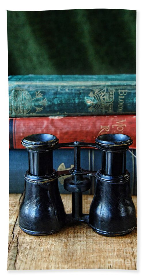Binoculars Beach Towel featuring the photograph Vintage Binoculars And Books by Jill Battaglia