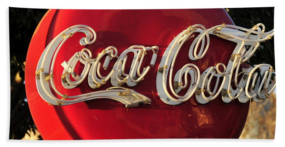 Fine Art Photography Beach Towel featuring the photograph Vintage Coke by David Lee Thompson