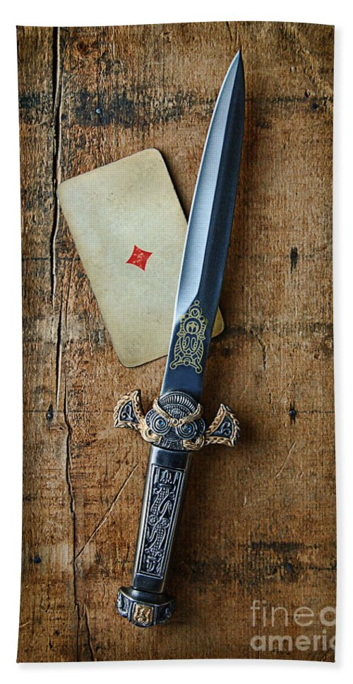 Knife Beach Towel featuring the photograph Vintage Dagger On Wood Table With Playing Card by Jill Battaglia
