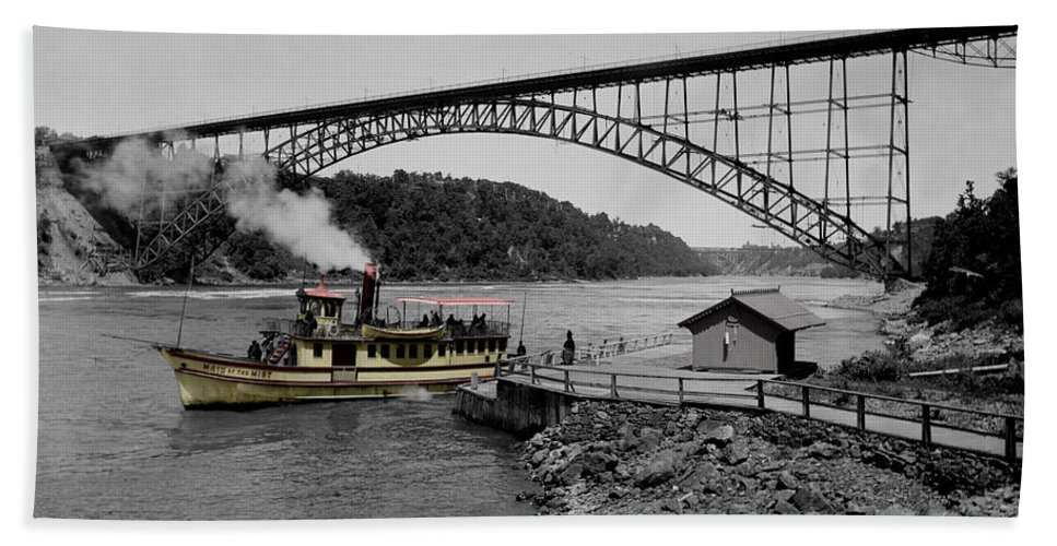 Niagara Falls Beach Towel featuring the photograph Vintage Maid Of The Mist by Andrew Fare