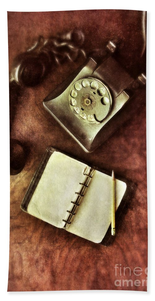 Telephone Beach Towel featuring the photograph Vintage Telephone And Notebook. by Jill Battaglia
