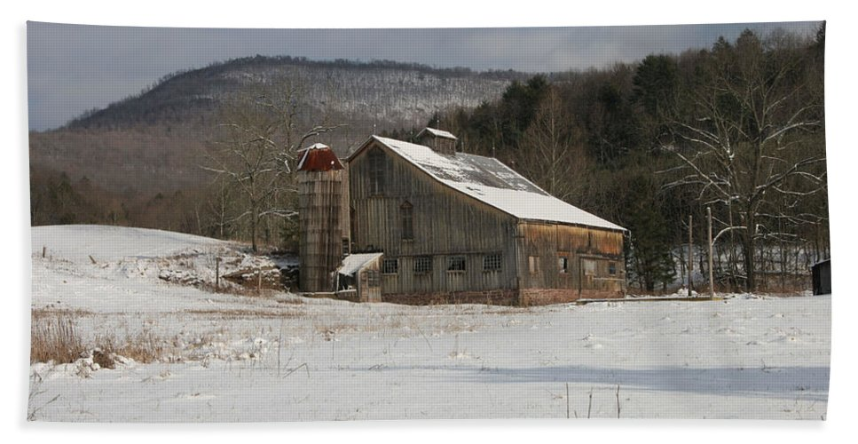 Copy Space Beach Towel featuring the photograph Vintage Weathered Wooden Barn by John Stephens