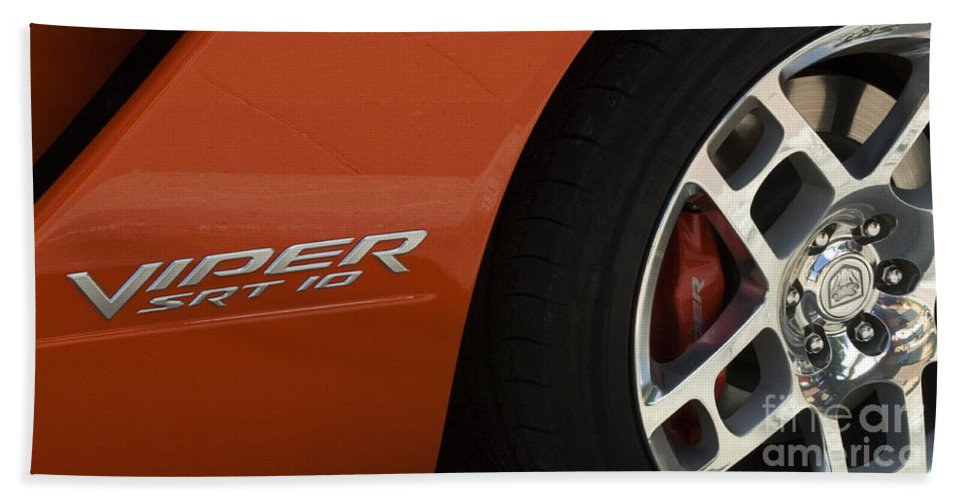 Chevy Truck Beach Towel featuring the photograph Viper Srt 10 Emblem And Wheel by Bob Christopher