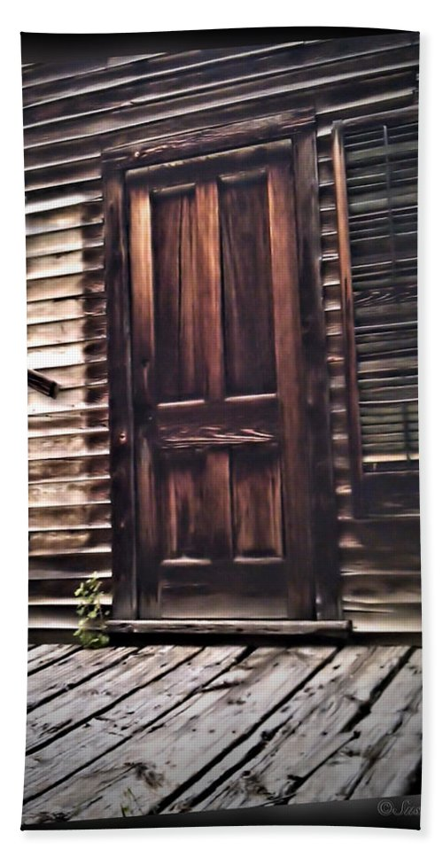 Ghost Town Beach Towel featuring the photograph Virginia City Ghost Town Door I by Susan Kinney