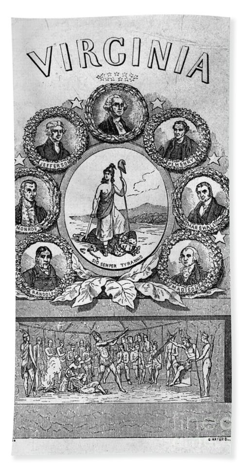 1856 Beach Towel featuring the photograph Virginia: Motto by Granger