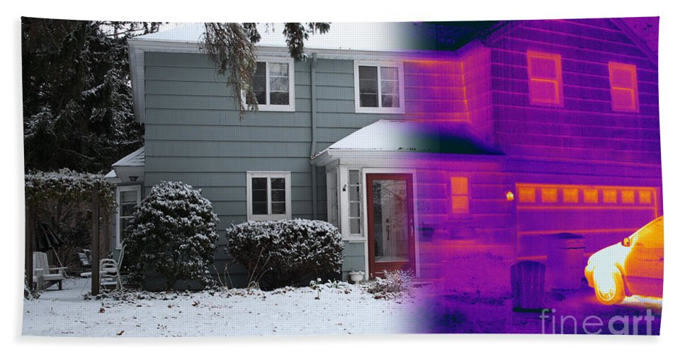Visible Light Beach Towel featuring the photograph Visible And Infrared Image Of A House by Ted Kinsman