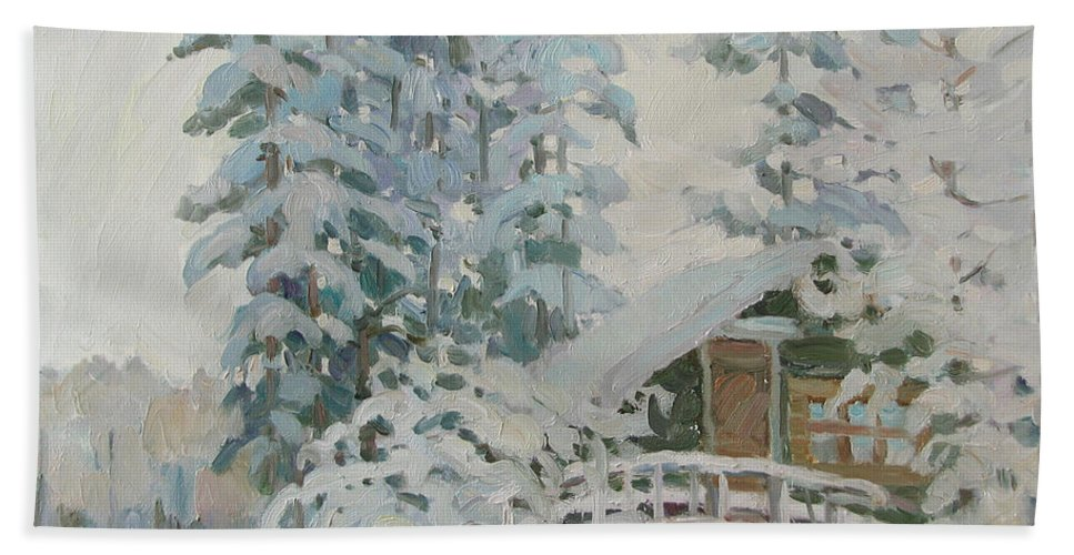 Winter Beach Towel featuring the painting Visiting Fairy Tales by Juliya Zhukova