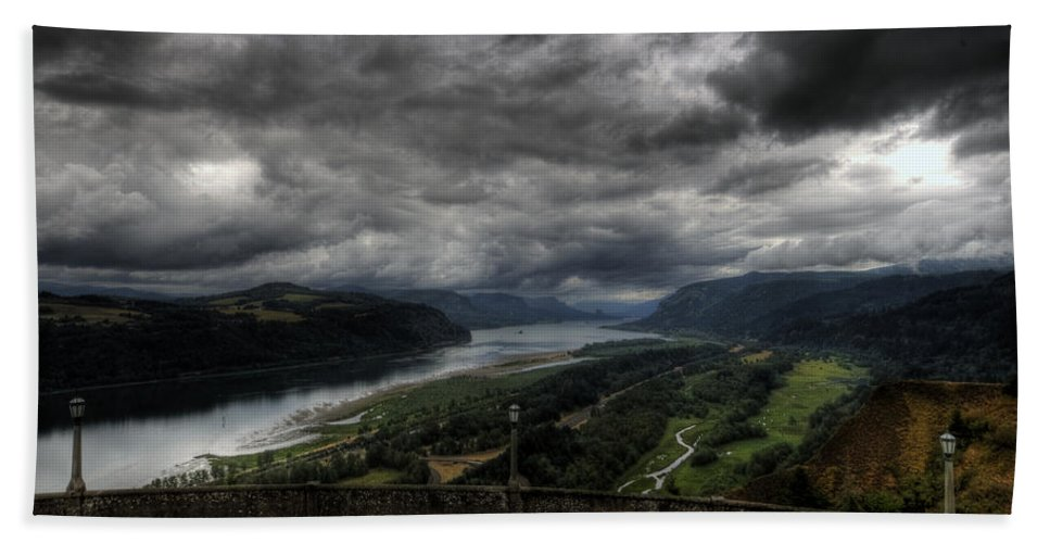 Hdr Beach Towel featuring the photograph Vista House View by Brad Granger
