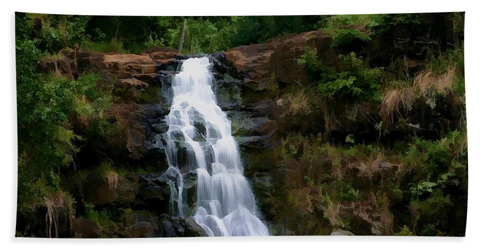 Hawaii Beach Towel featuring the digital art Waimea Valley Falls by Tommy Anderson