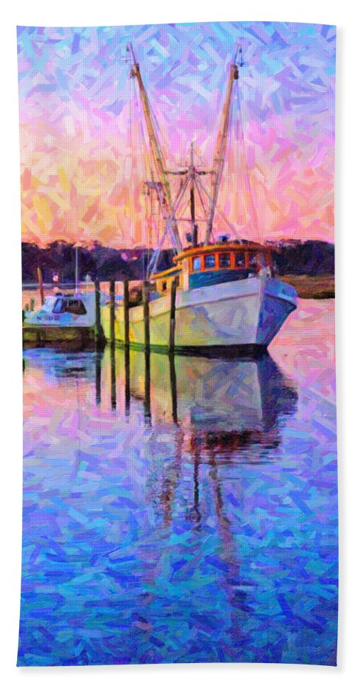 Ship Beach Towel featuring the digital art Waiting In The Harbor by Betsy Knapp