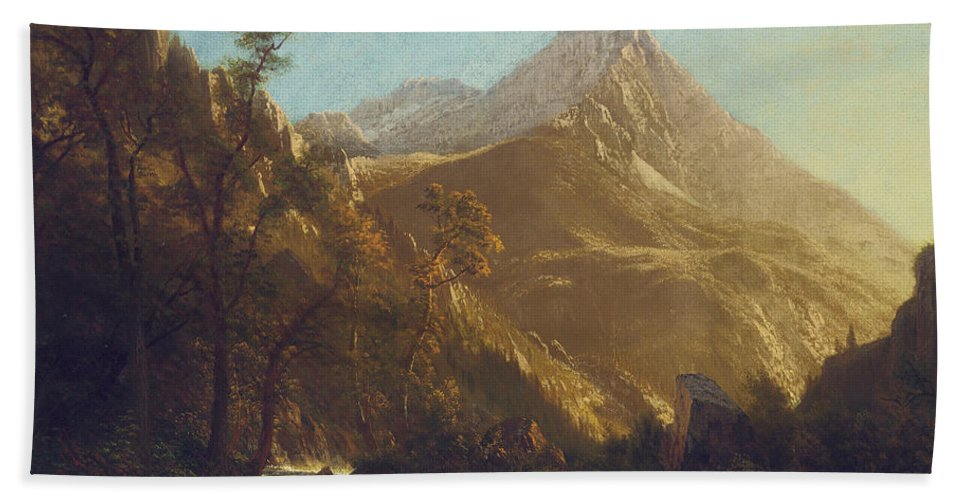 Wasatch Mountains (oil On Canvas) Mountain; Range; American; Landscape; Rocky; Rockies; West; Western; Albert Beach Towel featuring the painting Wasatch Mountains by Albert Bierstadt