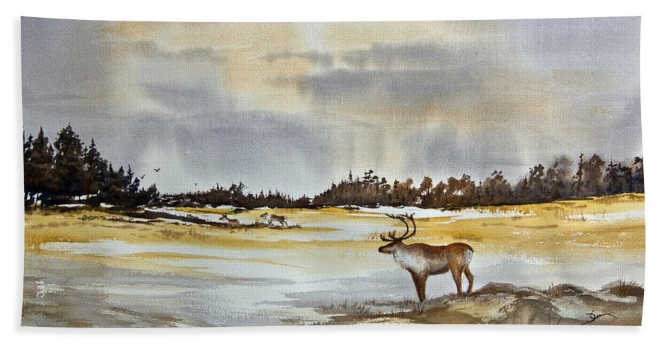 Caribou Beach Towel featuring the painting Watching The Herd by Dee Carpenter