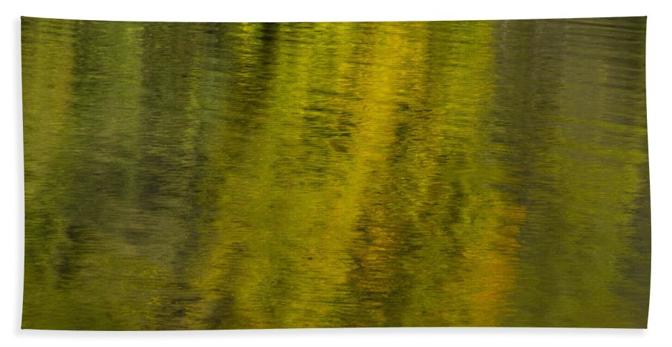 Abstract Beach Towel featuring the photograph Water Reflection Abstract Autumn 1 A by John Brueske