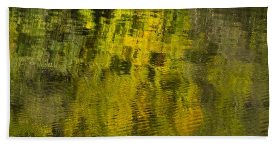 Abstract Beach Towel featuring the photograph Water Reflection Abstract Autumn 1 E by John Brueske