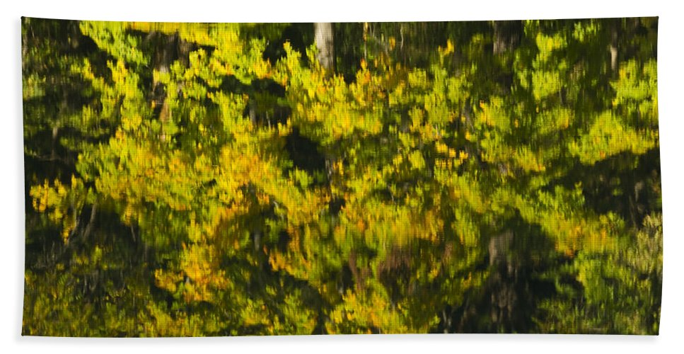 Abstract Beach Towel featuring the photograph Water Reflection Abstract Autumn 1 G by John Brueske