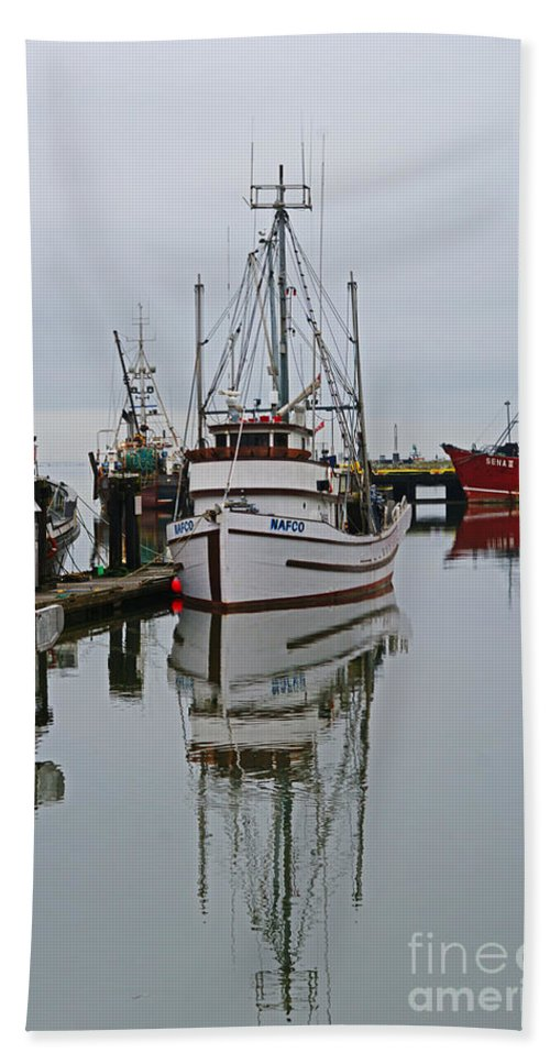 Fishing Boats Beach Towel featuring the photograph Water Reflections by Randy Harris