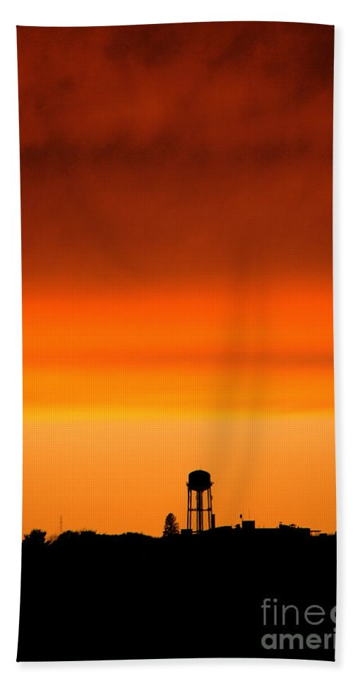 Water Tower Beach Towel featuring the photograph Water Tower And Sunset by Mike Nellums