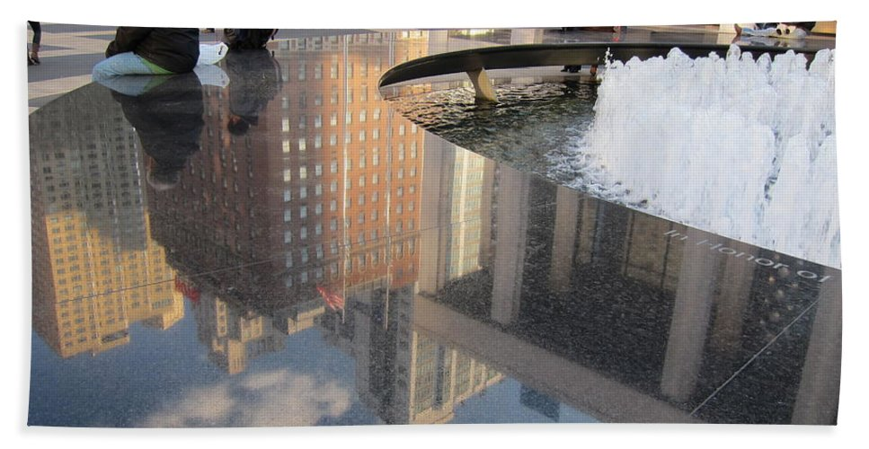 Reflections Beach Towel featuring the photograph Lincoln Center Reflections by Stefa Charczenko
