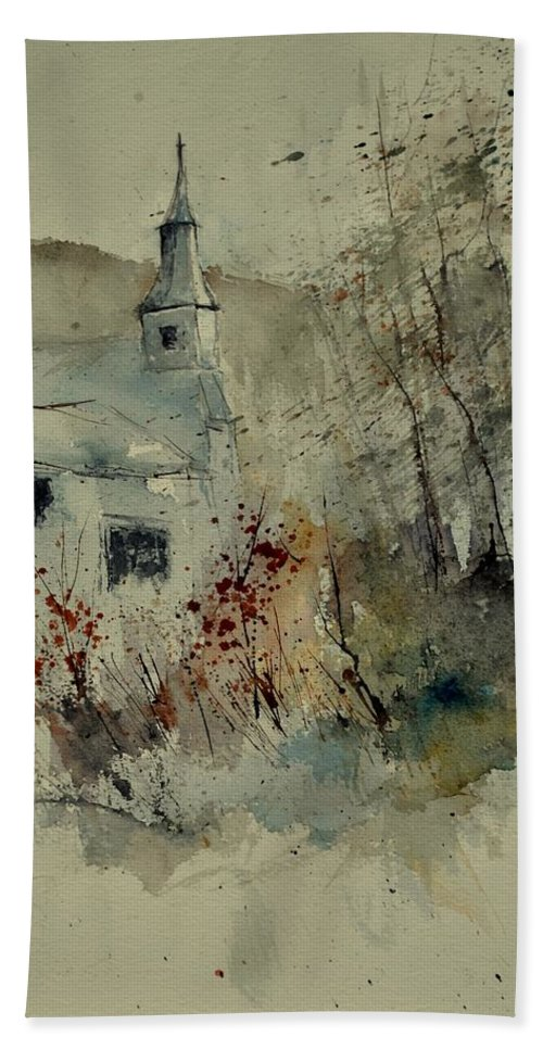 Landscape Beach Towel featuring the painting Watercolor 212082 by Pol Ledent