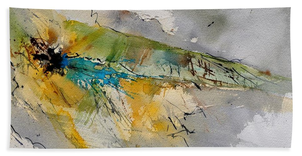 Abstract Beach Towel featuring the painting Watercolor 213001 by Pol Ledent