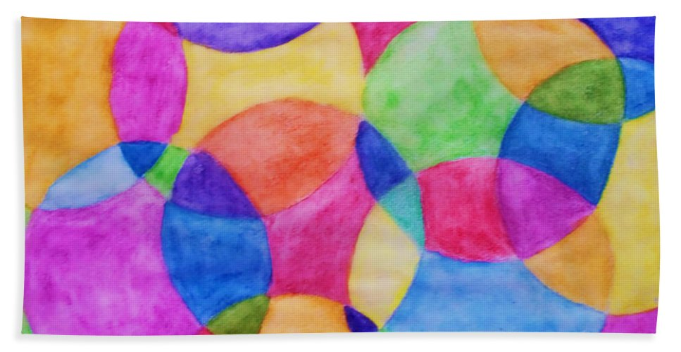 Watercolor Art Beach Towel featuring the painting Watercolor Circles Abstract by Debbie Portwood