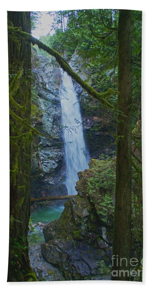 Waterfalls Beach Towel featuring the photograph Waterfall In The Woods by Randy Harris