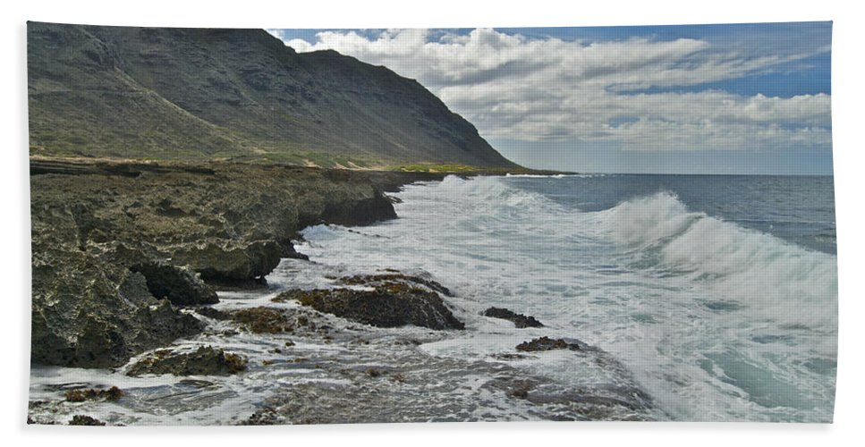 Landscape Beach Towel featuring the photograph Waves At Kaena State Park 7847 by Michael Peychich