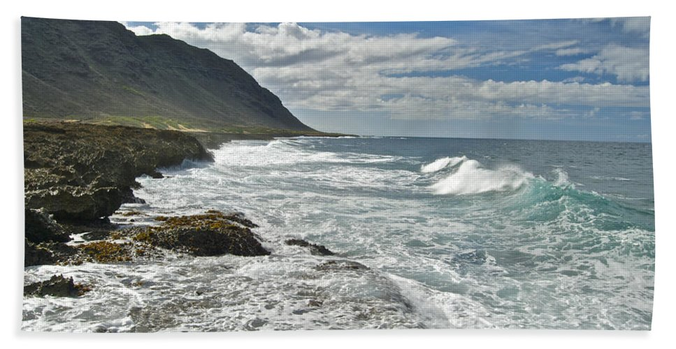 Landscape Beach Towel featuring the photograph Waves Breaking On Shore 7876 by Michael Peychich