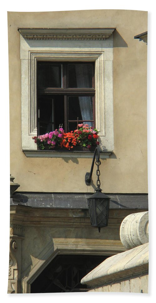 Window Beach Towel featuring the photograph Wawel Flower Box And Achitecture by Greg Matchick