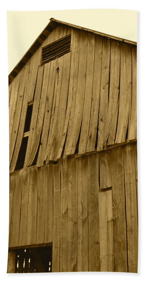 J.d. Grimes Beach Towel featuring the photograph Weathered Barn I In Sepia by JD Grimes