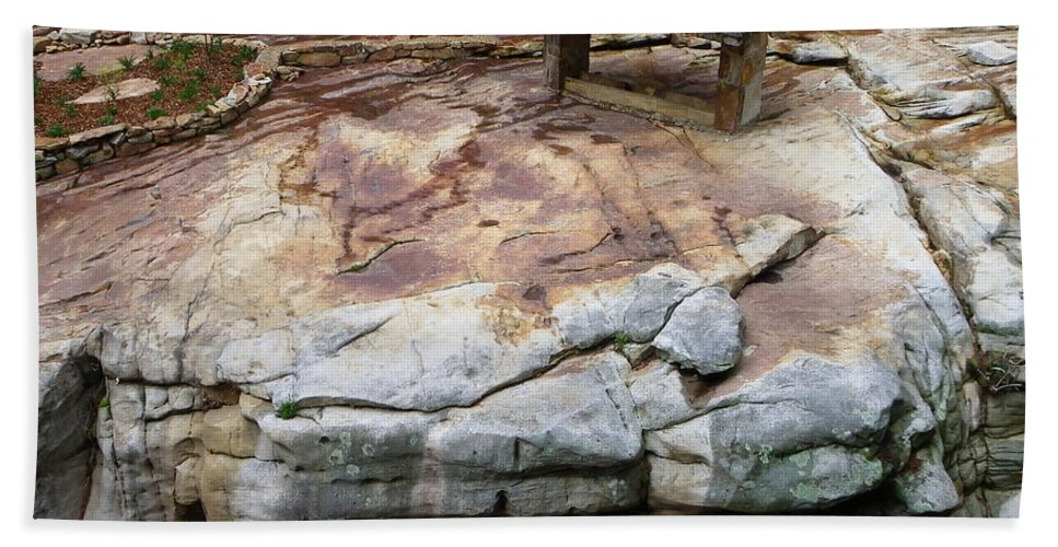 Stone Beach Towel featuring the photograph Weathered Stone by Charleen Treasures