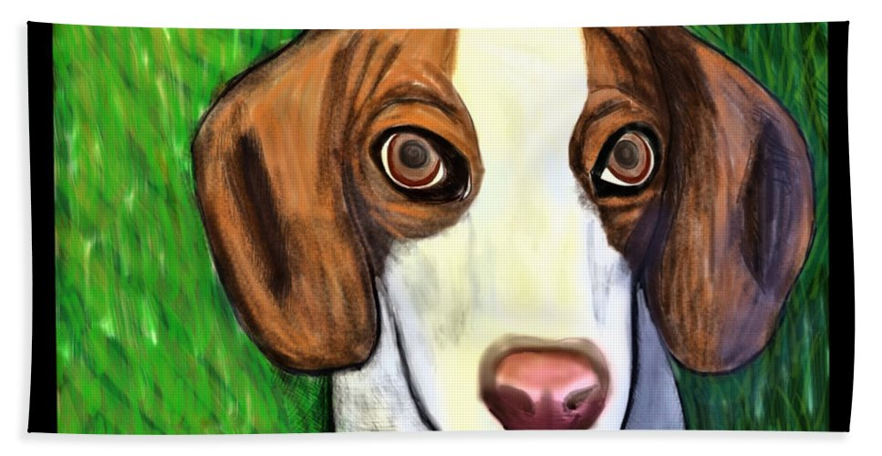 Beagle Beach Towel featuring the painting Wee Beagle by Rebecca Stephens