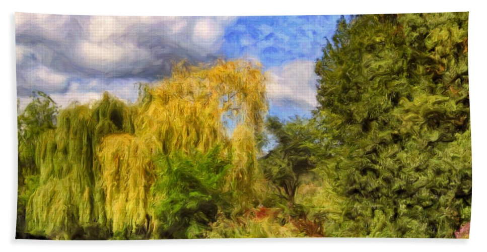 Weeping Willows Beach Towel featuring the painting Weeping Willows by Dominic Piperata