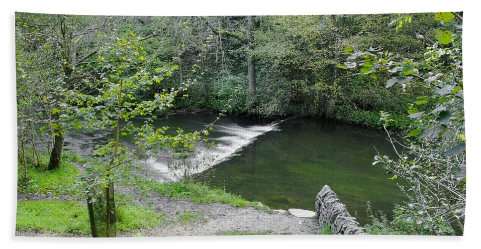Dovedale Beach Towel featuring the photograph Weir Below Lover's Leap - Dovedale by Rod Johnson