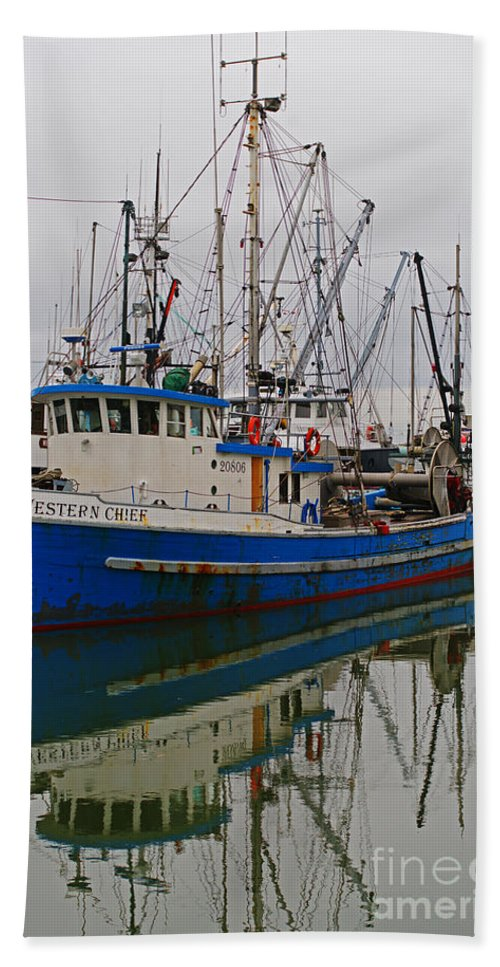 Fishing Boats Beach Towel featuring the photograph Western Chief by Randy Harris