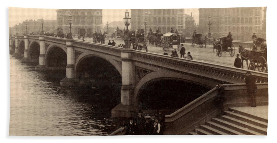 London Beach Towel featuring the photograph Westminster Bridge - London - C 1887 by International Images