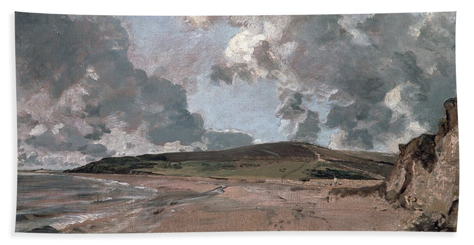 Furzy Cliff; Sand; Clouds; Cloud; Landscape; Rocky; Desolate; Barren; Romantic; Romanticism; Darkened; Storm; Stormy Beach Towel featuring the painting Weymouth Bay With Jordan Hill by John Constable