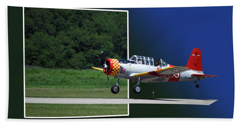 Out Of Bounds Beach Towel featuring the photograph Wheels Down Open Canopy by Thomas Woolworth