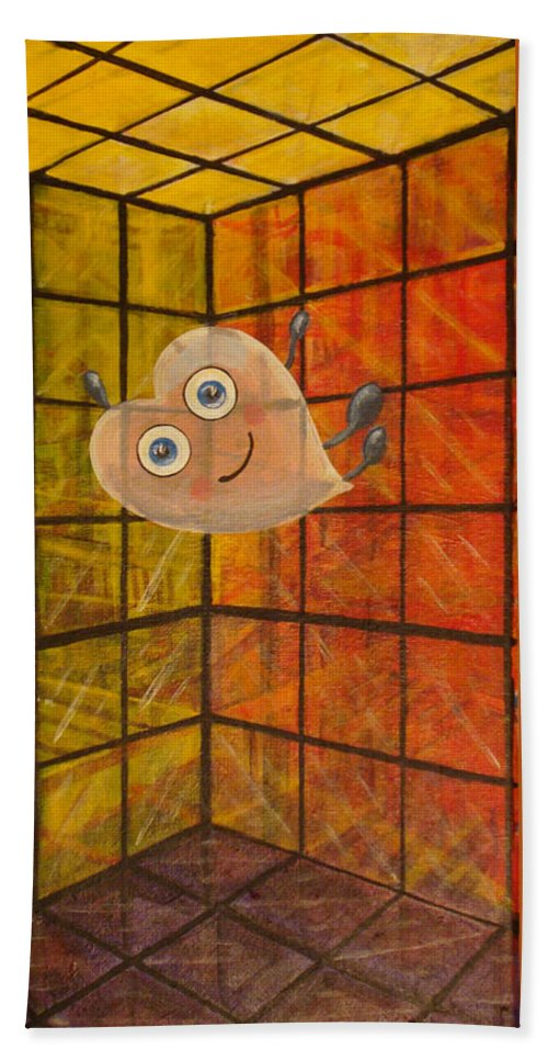 Heart Beach Towel featuring the painting When It Came Crashing Down by Mindy Huntress