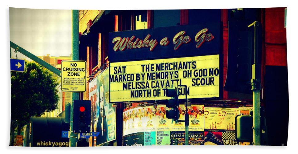 Whisky A Go Go Beach Towel featuring the photograph Whisky A Go Go Bar On Sunset Boulevard by Susanne Van Hulst