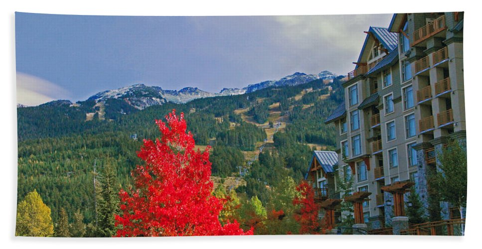 Whistler Beach Towel featuring the photograph Whistler Red by Lynn Bauer