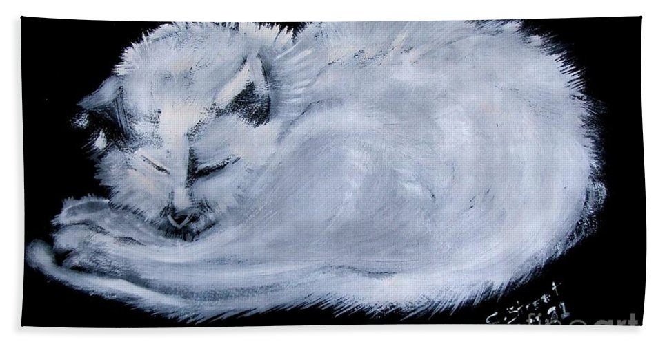 Cat Beach Towel featuring the painting White Cat Sleeping by Caroline Street