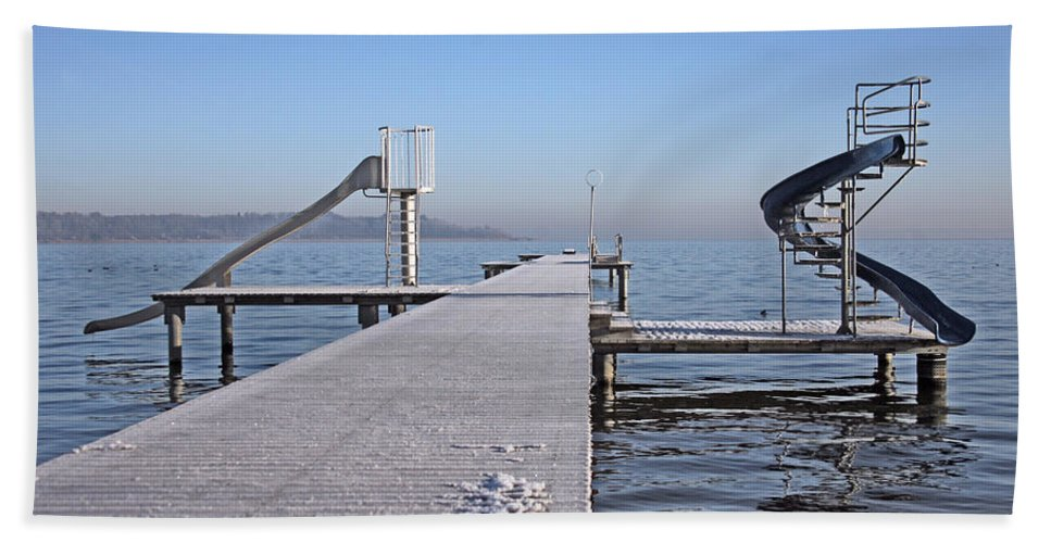 White Beach Towel featuring the photograph White Frost Slide by Ralf Kaiser